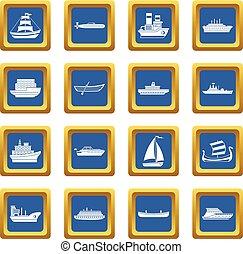 Sea transport icons set blue