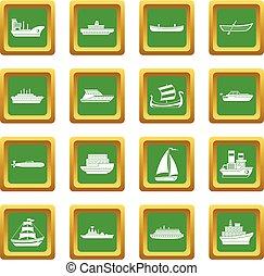 Sea transport icons set green