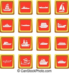 Sea transport icons set red - Sea transport icons set in red...