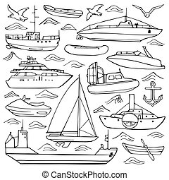 Sea transportation doodle set