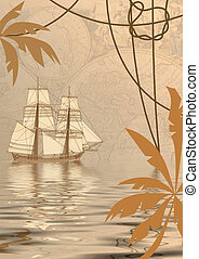 sea travel background - travel background with tall-ship,...