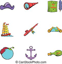 Sea travel icons set, cartoon style