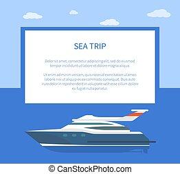 Sea Trip Colorful Banner, Vector Illustration