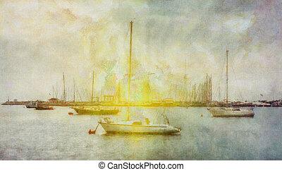 Sea trip - Digital watercolor colorful natural background
