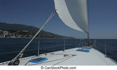 Sea trip HD - Sea trip on the yacht. Sailor is walking on a...