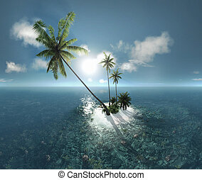 sea, tropical island, palm , sun 3D illustration