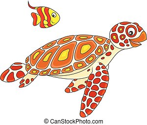 Sea turtle and butterflyfish - Funny loggerhead and a small...