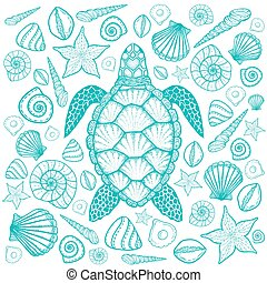 Sea turtle and shells in line art style. Hand drawn vector...