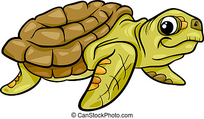 sea turtle animal cartoon illustration