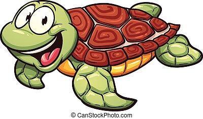 Sea turtle - Cartoon sea turtle. Vector clip art...