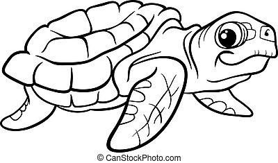 sea turtle coloring book - Black and White Cartoon...
