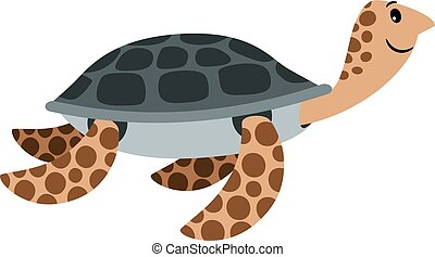Sea turtle cute cartoon animal