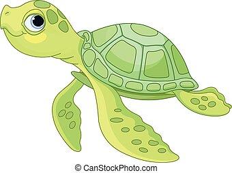 Sea Turtle - Illustration of very cute sea turtle