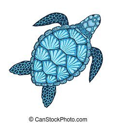 Sea turtle in line art style. Hand drawn vector illustration. Design for coloring book.