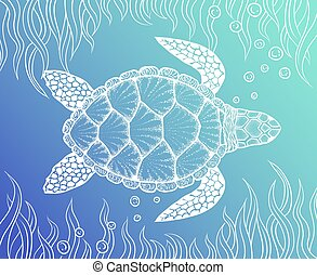 Sea turtle in line art style. Hand drawn vector...