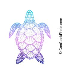 Sea turtle in line art style. Hand drawn vector illustration...