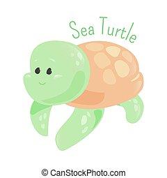 Sea turtle isolated. Marine animals. - Sea turtle isolated...