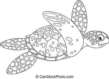 Sea turtle - Marine turtle swimming, black and white outline...