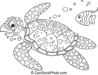 Sea turtle - Marine turtle swimming with a small fish, black...