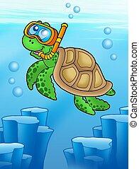 Sea turtle snorkel diver underwater - color illustration.