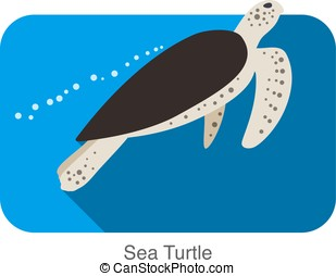 Sea Turtle swimming in the sea, flat illustration vector
