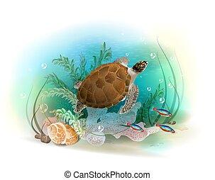 Sea turtle swims in the ocean. Illustration of the tropical underwater world. Aquarium fish.