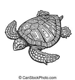 Sea Turtle  Tattoo Illustration