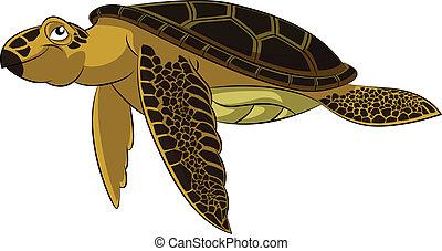 Sea turtle - Vector image of funny cartoon smiling sea...