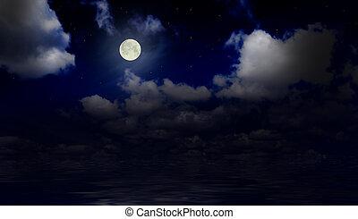 Sea under night sky with moon
