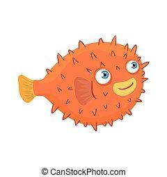 sea underwater life, blowfish animal on white background