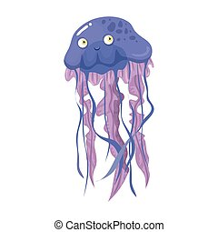 sea underwater life, jellyfish on white background