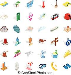 Sea vacation icons set, isometric style - Sea vacation icons...