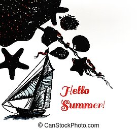 Sea vector background with ship or boad hat and sea shells starfishes in engraved style hello summer theme of vacation and rest.eps