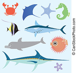 Sea vector set - Stylized original simple icons of starfish,...