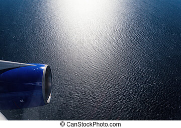 Sea view from airplane window