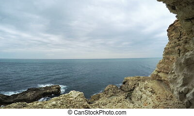 Sea View from grotto - RUSSIA, SEVASTOPOL, OCTOBER, 2016:...
