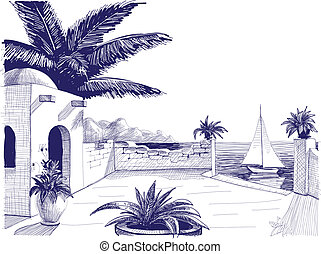 Sea view from house terrace on the beach sketch