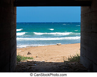 Sea view from the brick tunnel.