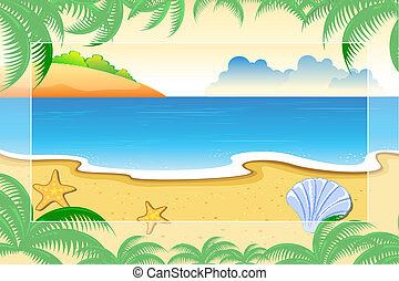 Sea View - illustration of sea view surrounded with palm...