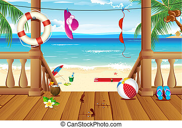 illustration of stairs of house near sea beach with lifebouy