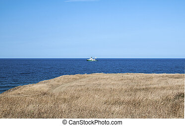 Sea view landscape with fishing vessel