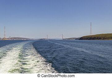 sea view of Russkiy bridge on sunny day