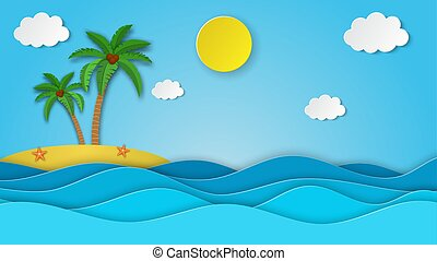 Sea view on clear sky. paper cut and craft style. blue sea waves white air clouds paper art style of cover design. island with palm and coconut. Vector illustration