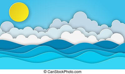 Sea view on clear sky. paper cut and craft style. blue sea waves white air clouds paper art style of cover design. Vector illustration