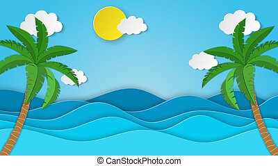Sea view on clear sky. paper cut and craft style. tropical palm tree on the beach. blue sea waves white air clouds paper art style of cover design. Vector illustration