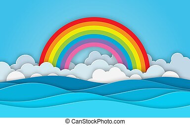 Sea view. Cloud and Rainbow in the Blue sky. paper cut and craft style. blue sea waves white air clouds paper art style of cover design. Vector illustration