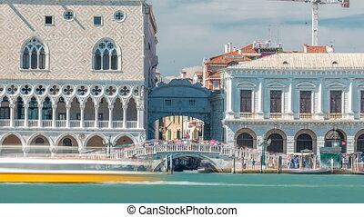 Sea view on stone bridge Ponte della Paglia from San Giorgio Maggiore timelapse.