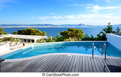 Sea view swimming pool in the luxury hotel, Peloponnes, ...