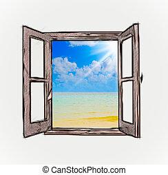 Sea view through an open window in a dark room
