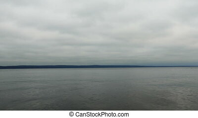 Sea View to Horizon in a Cloudy Day